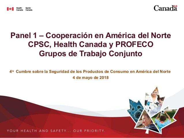 Panel 1 – Cooperación en América del Norte CPSC, Health Canada y PROFECO Grupos de Trabajo Conjunto 4ta Cumbre sobre la Se...