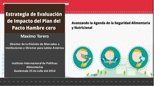 Desnutrición Infantil IFPRI Julio 2014 Maximo Torero Director de la División de Mercados e Instituciones y Director para L...