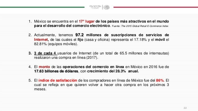 1. México se encuentra en el 17° lugar de los países más atractivos en el mundo para el desarrollo del comercio electrónic...