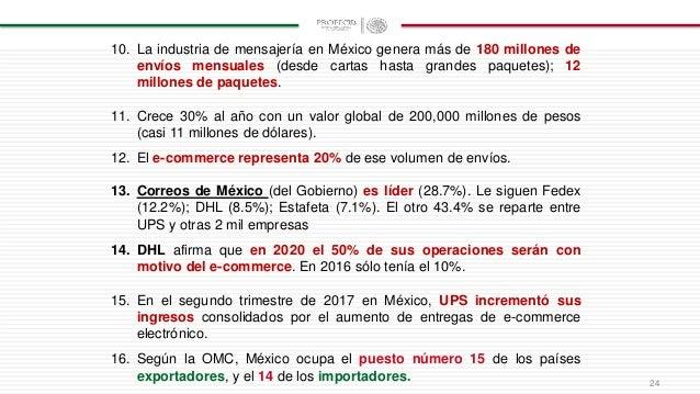 24 10. La industria de mensajería en México genera más de 180 millones de envíos mensuales (desde cartas hasta grandes paq...