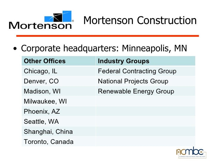 Mortenson Construction• Corporate headquarters: Minneapolis, MN  Other Offices       Industry Groups  Chicago, IL         ...