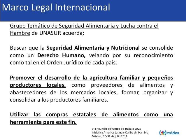 VIII Reunión del Grupo de Trabajo 2025 Iniciativa América Latina y Caribe sin Hambre México, 30-31 de julio 2014 Marco Leg...