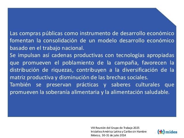 Las compras públicas como instrumento de desarrollo económico fomentan la consolidación de un modelo desarrollo económico ...