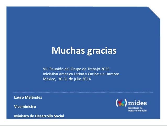 Muchas gracias Lauro Meléndez Viceministro Ministro de Desarrollo Social VIII Reunión del Grupo de Trabajo 2025 Iniciativa...