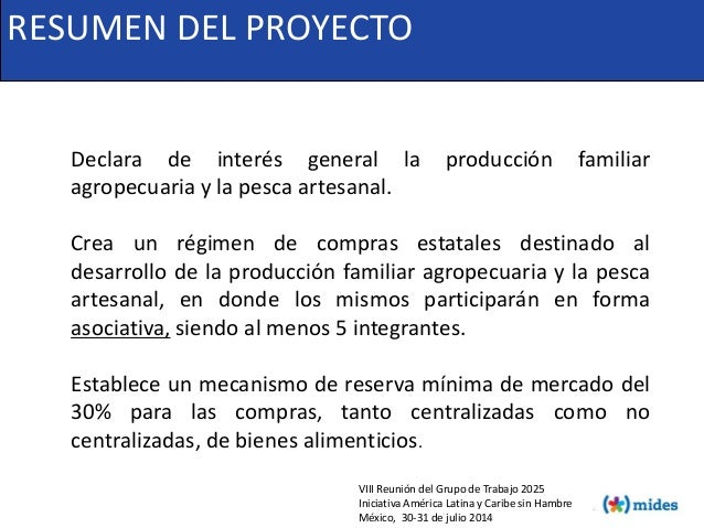 Declara de interés general la producción familiar agropecuaria y la pesca artesanal. Crea un régimen de compras estatales ...