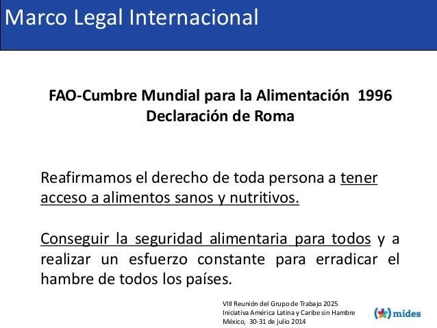 FAO-Cumbre Mundial para la Alimentación 1996 Declaración de Roma Reafirmamos el derecho de toda persona a tener acceso a a...