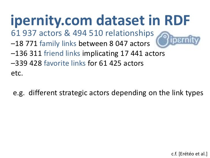ipernity.com dataset in RDF<br />61 937 actors & 494 510 relationships<br /><ul><li>18 771 family links between 8 047 actors