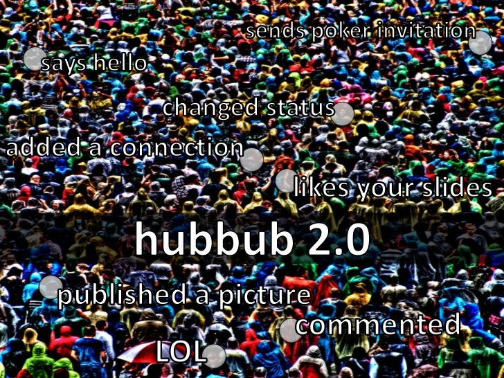sends poker invitation<br />says hello<br />changed status<br />added a connection<br />likes your slides<br />hubbub 2.0<...