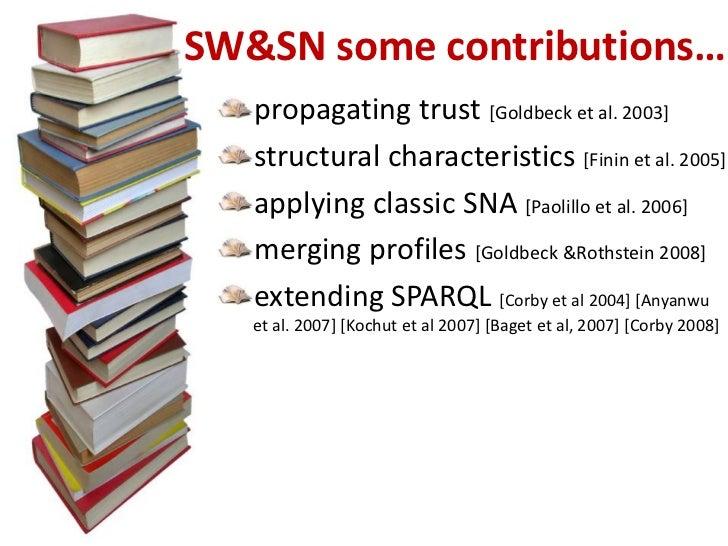 SW&SN some contributions…<br />propagating trust [Goldbeck et al. 2003]<br />structural characteristics [Fininet al. 2005]...