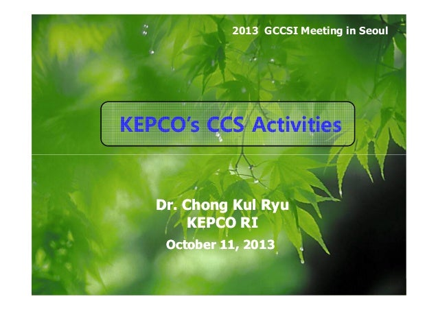 2013 GCCSI Meeting in Seoul  KEPCO's CCS Activities  Dr. Chong Kul Ryu KEPCO RI October 11, 2013  KEPCOP's CCS Projects in...