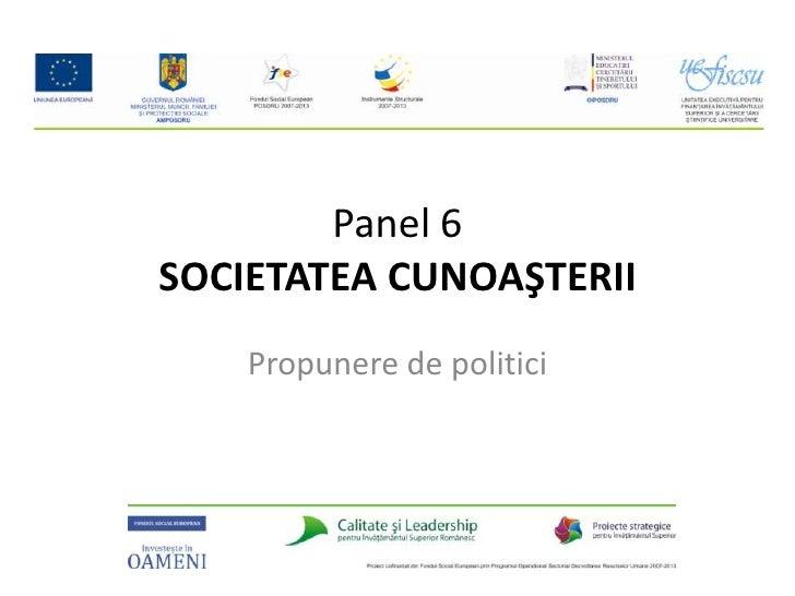 Panel 6SOCIETATEA CUNOAŞTERII<br />Propunere de politici<br />
