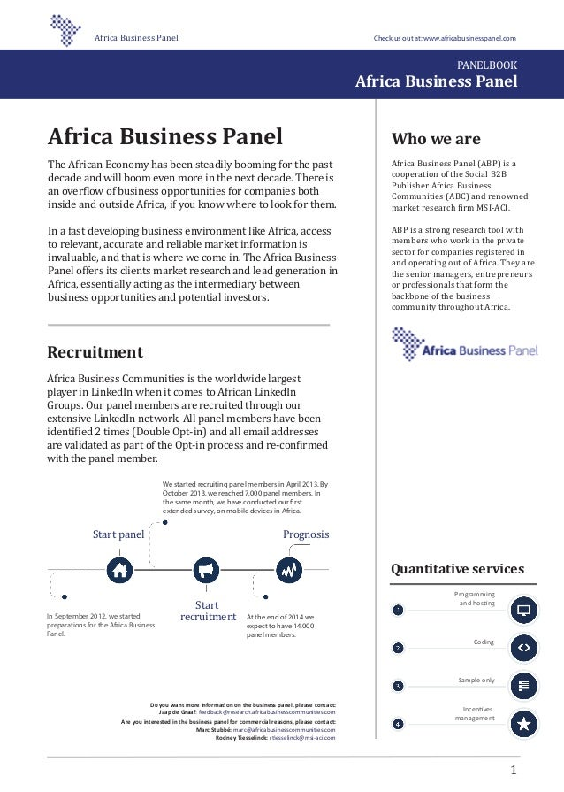 Who we are Africa Business Panel (ABP) is a cooperation of the Social B2B Publisher Africa Business Communities (ABC) and ...