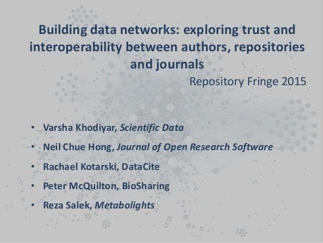 • Varsha Khodiyar, Scientific Data • Neil Chue Hong, Journal of Open Research Software • Rachael Kotarski, DataCite • Pete...
