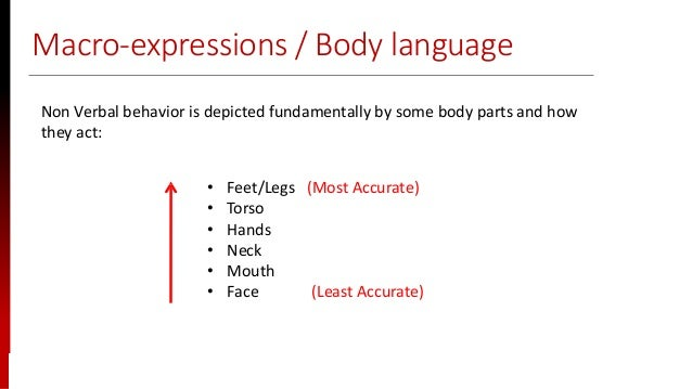 www.sisainfosec.com Macro-expressions / Body language Non Verbal behavior is depicted fundamentally by some body parts and...