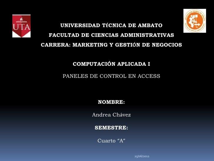 UNIVERSIDAD TÉCNICA DE AMBATO  FACULTAD DE CIENCIAS ADMINISTRATIVASCARRERA: MARKETING Y GESTIÓN DE NEGOCIOS         COMPUT...