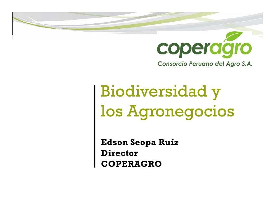 Biodiversidad ylos AgronegociosEdson Seopa RuízDirectorCOPERAGRO