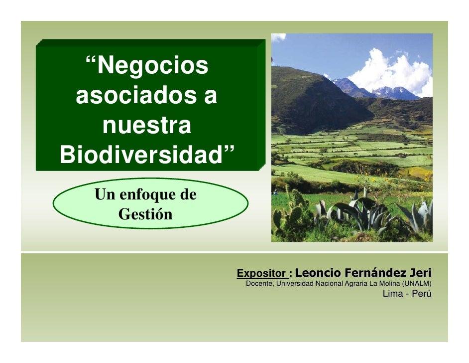 """""""Negocios asociados a   nuestraBiodiversidad""""  Un enfoque de     Gestión                  Expositor : Leoncio Fernández Je..."""