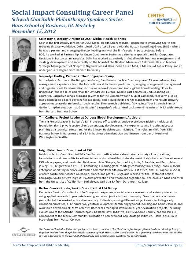 Social Impact Consulting Career PanelSchwab Charitable Philanthropy Speakers SeriesHaas School of Business, UC BerkeleyNov...