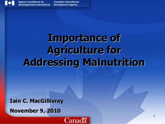 1 Importance of Agriculture for Addressing Malnutrition Iain C. MacGillivray November 9, 2010
