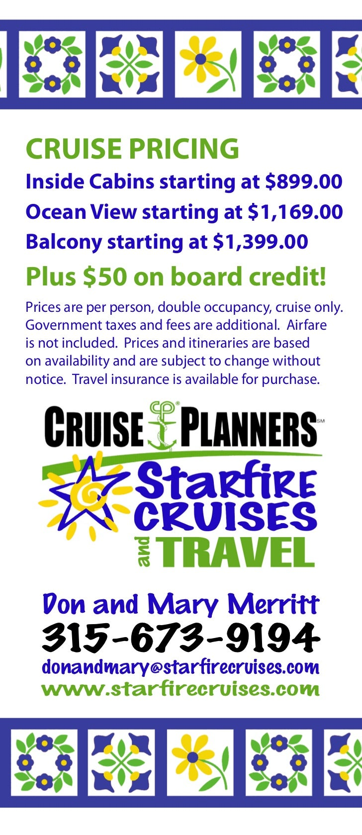 Price per person starting rates tax included subject to - 5 Cruise Pricinginside Cabins Starting