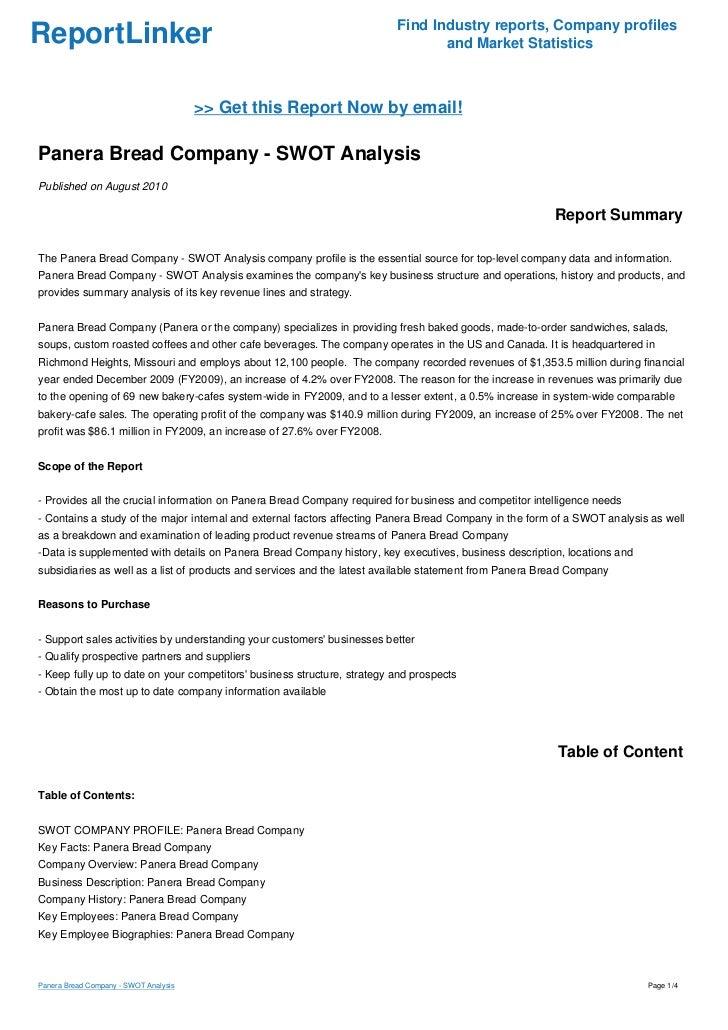 Panera Bread (PNRA) SWOT Analysis