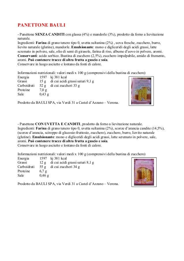 PANETTONE BAULI - Panettone SENZA CANDITI con glassa (4%) e mandorle (3%), prodotto da forno a lievitazione naturale. Ingr...