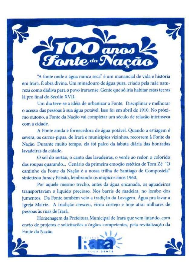 PANFLETO - FONTE DA NAÇÃO - PREFEITURA DE IRARÁ
