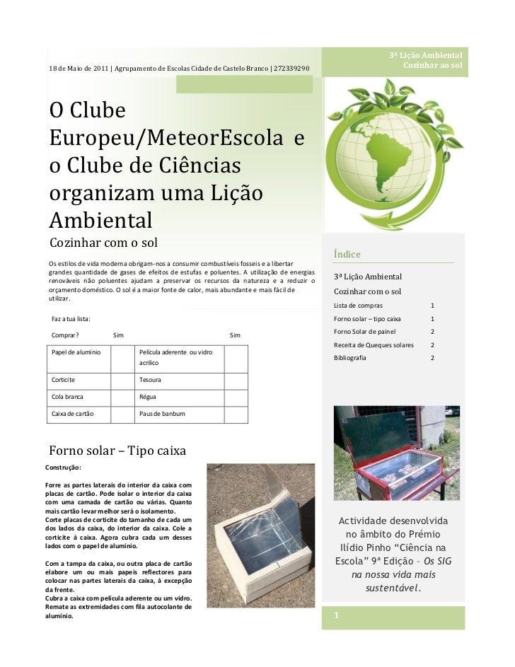 3ª Lição Ambiental 18 de Maio de 2011 | Agrupamento de Escolas Cidade de Castelo Branco | 272339290                       ...