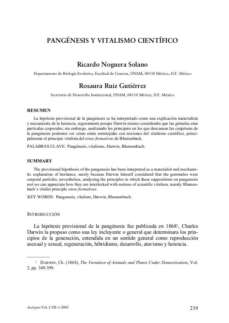 PANGÉNESIS Y VITALISMO CIENTÍFICO                             Ricardo Noguera Solano   Departamento de Biología Evolutiva,...