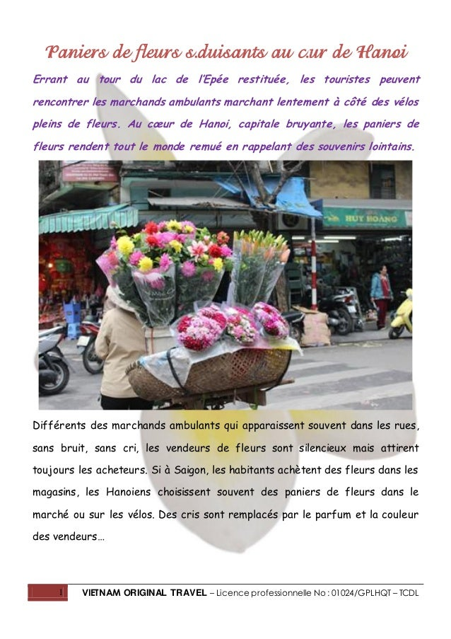 1 VIETNAM ORIGINAL TRAVEL – Licence professionnelle No : 01024/GPLHQT – TCDL Paniers de fleurs séduisants au cœur de Hanoi...