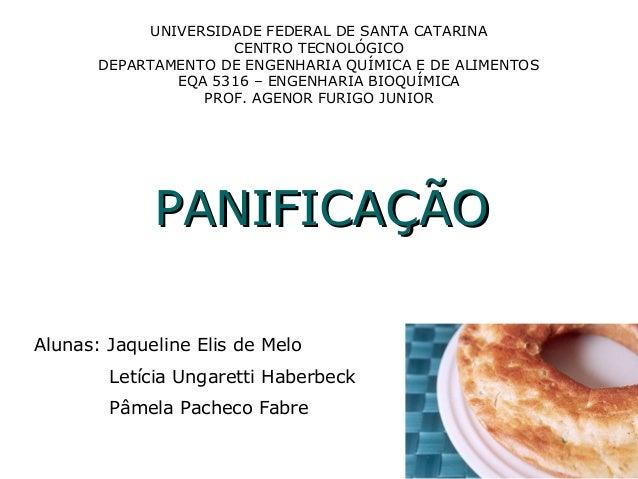 UNIVERSIDADE FEDERAL DE SANTA CATARINA CENTRO TECNOLÓGICO DEPARTAMENTO DE ENGENHARIA QUÍMICA E DE ALIMENTOS EQA 5316 – ENG...