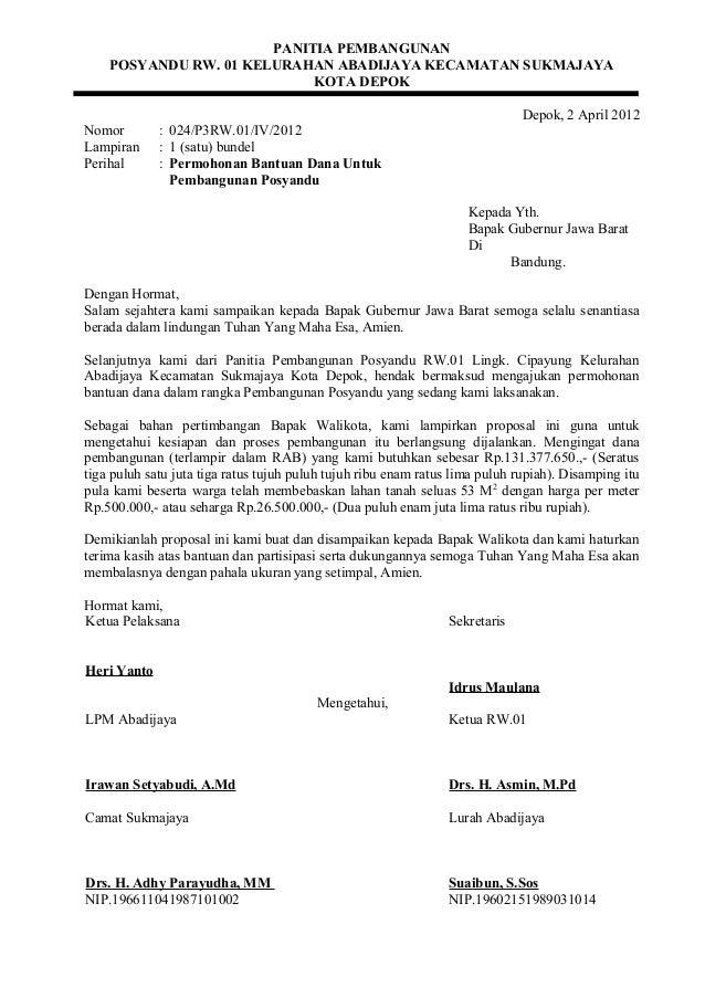 Contoh Surat Permohonan Bantuan Dana Pembangunan Masjid Contoh Seputar Surat