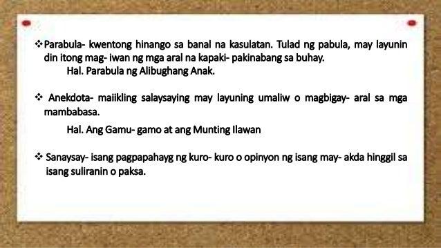 sanaysay na nagkukwento kasaysayan Kalipunan ng iba't ibang pagsusulit pangwika at mga halimbawa.
