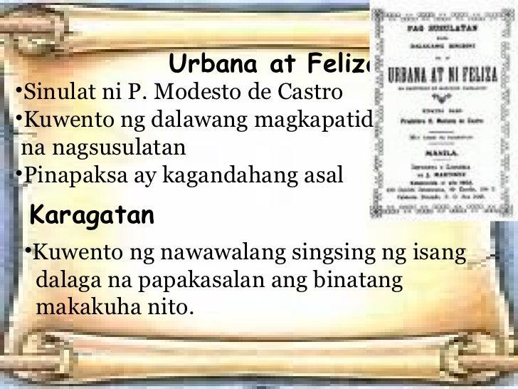 letter between urbana at felisa Si urbana, (clue: urban) ay ang nakatatandang kapatid ang pangalan nya ay simbulo ng urbanidad, pagiging sopistikada, at may kaalaman sa wastong asal.