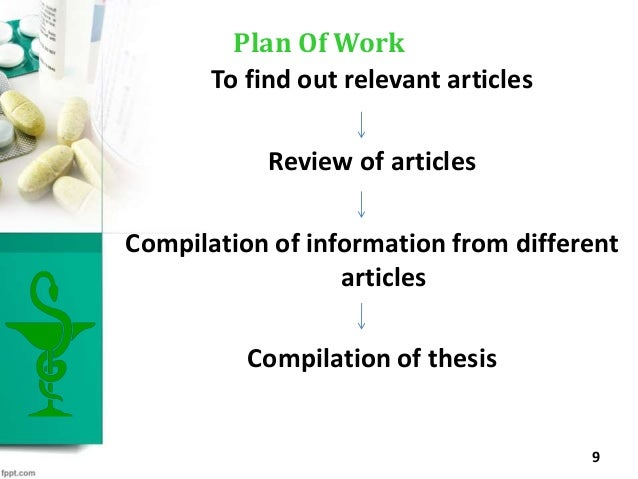 To find out relevant articles Review of articles Compilation of information from different articles Compilation of thesis ...