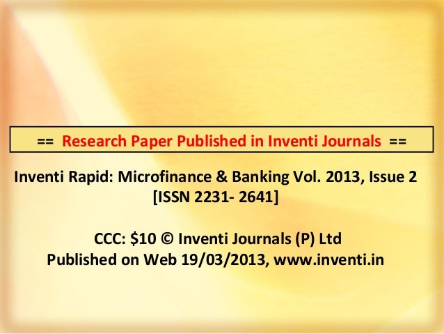 microfinance research papers in india The nyu wagner working paper series is intended to disseminate work in preliminary form analysis of the effects of microfinance on poverty reduction jonathan morduch.