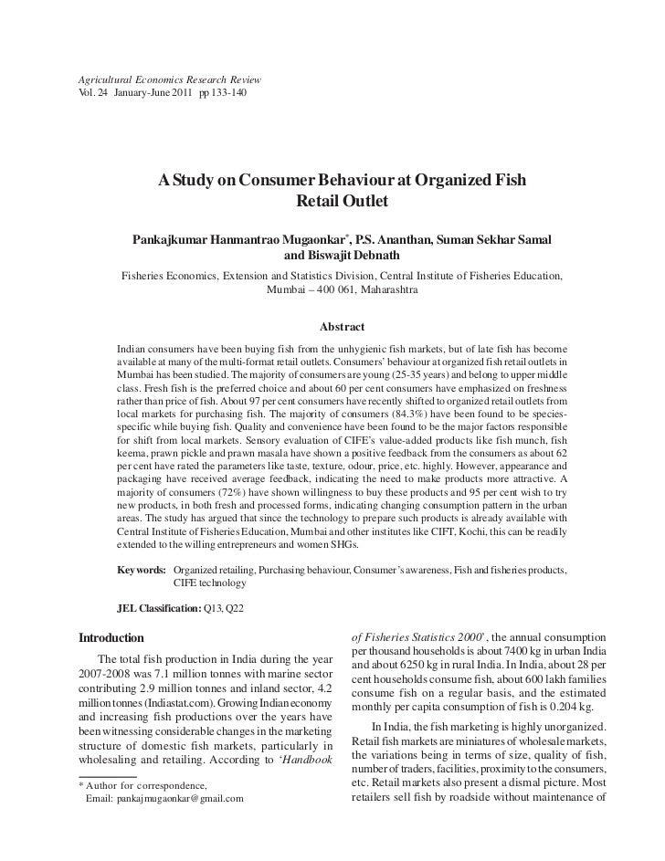 Agricultural Economics Research ReviewVol. 24 January-June 2011 pp 133-140                 A Study on Consumer Behaviour a...