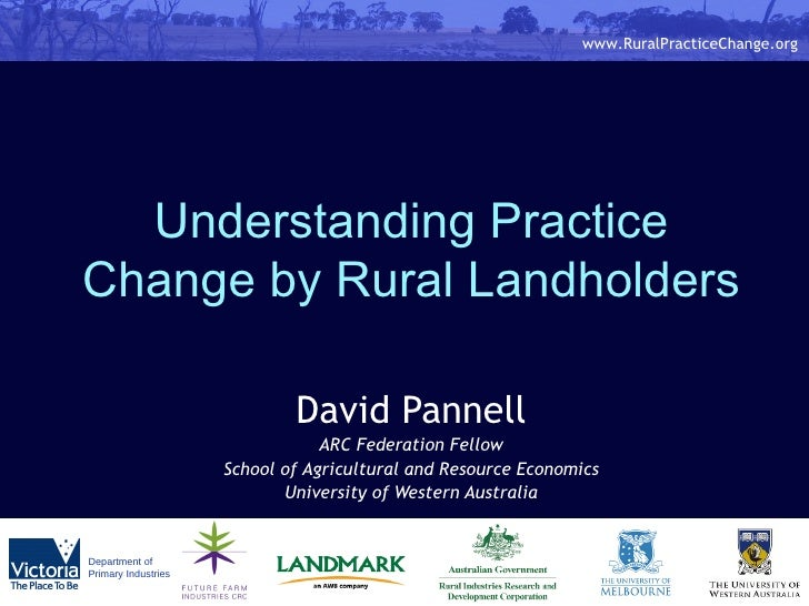 Understanding Practice Change by Rural Landholders David Pannell ARC Federation Fellow School of Agricultural and Resource...