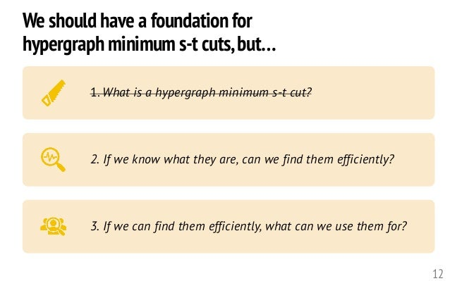 12 1. What is a hypergraph minimum s-t cut? 2. If we know what they are, can we find them efficiently? 3. If we can find t...
