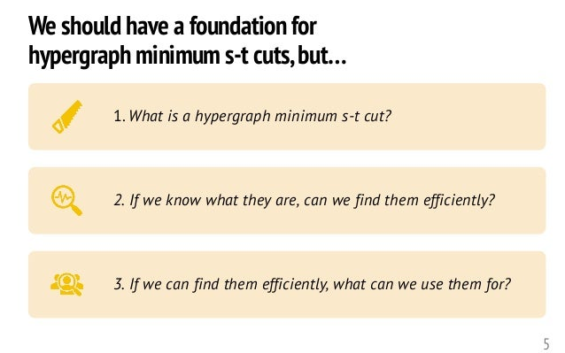 5 1. What is a hypergraph minimum s-t cut? 2. If we know what they are, can we find them efficiently? 3. If we can find th...