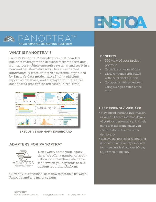 BENEFITS • 360 view of your project portfolio • Capitalize on years of data • Discover trends and issues with the click...