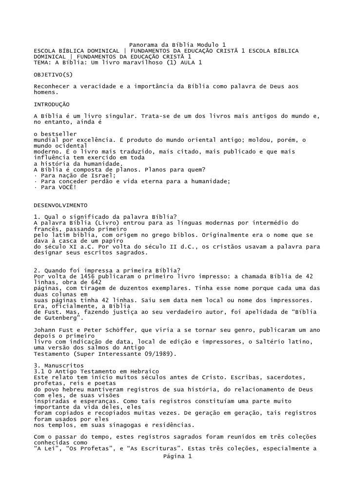 Panorama da Bíblia Modulo 1 ESCOLA BÍBLICA DOMINICAL | FUNDAMENTOS DA EDUCAÇÃO CRISTÃ 1 ESCOLA BÍBLICA DOMINICAL | FUNDAME...
