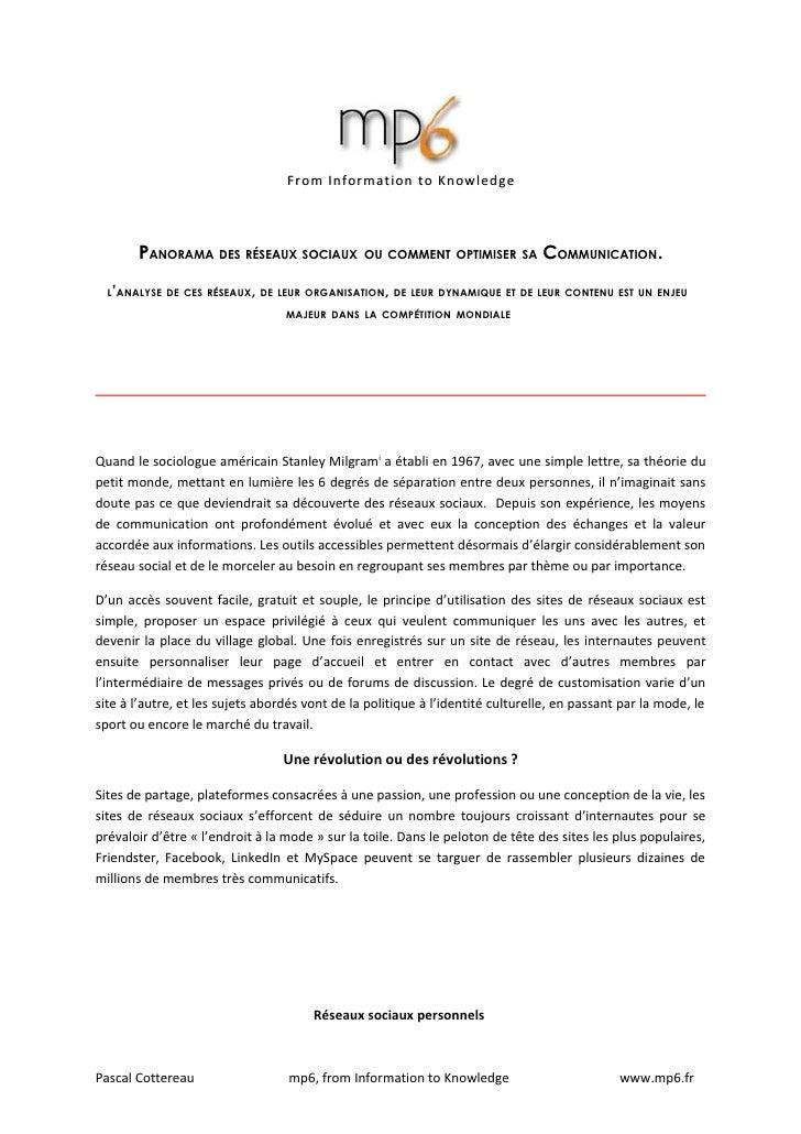 From Information to Knowledge           PANORAMA DES RÉSEAUX SOCIAUX                                             COMMUNICA...