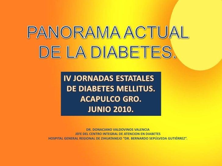 PANORAMA ACTUAL <br />DE LA DIABETES.<br />IV JORNADAS ESTATALES  <br />DE DIABETES MELLITUS.<br />ACAPULCO GRO.<br />JUNI...