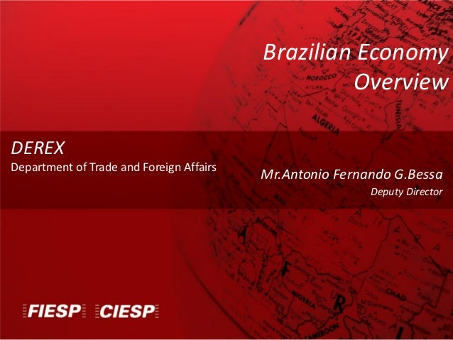 Mr.Antonio Fernando G.Bessa Deputy Director DEREX Department of Trade and Foreign Affairs Brazilian Economy Overview