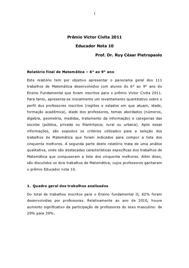 1                      Prêmio Victor Civita 2011                           Educador Nota 10                               ...