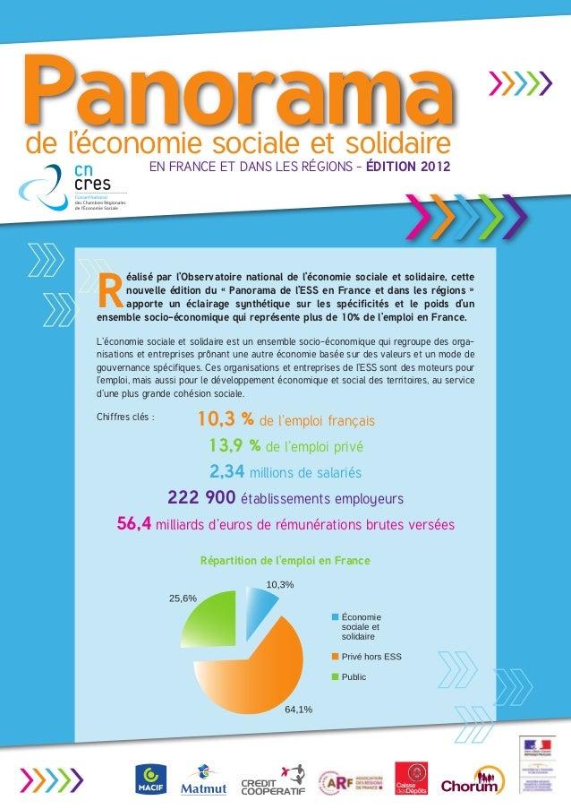 Panoramade l'économie sociale et solidaire                     en France et dans les régions - Édition 2012               ...