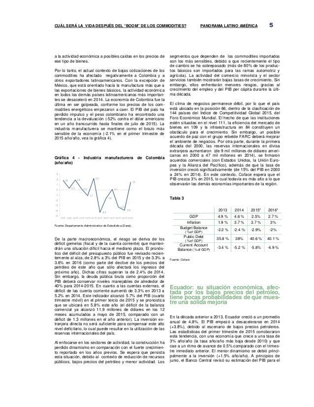 """CUÁL SERÁ LA VIDA DESPUÉS DEL """"BOOM"""" DE LOS COMMODITIES? PANORAMA LATINO AMÉRICA 5 a la actividad económica a posibles caí..."""
