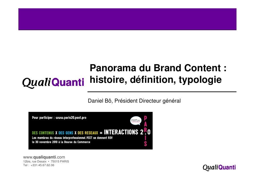 Panorama du Brand Content :                                  histoire, définition, typologie                              ...