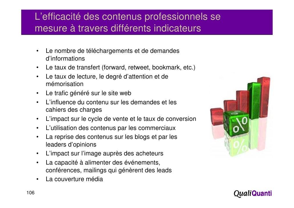 L'efficacité des contenus professionnels se      mesure à travers différents indicateurs      •   Le nombre de téléchargem...